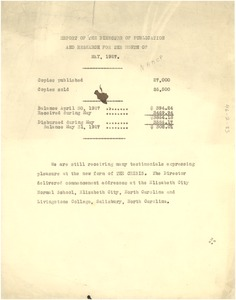 Thumbnail of Report of the director of publication and research for the month of May 1927