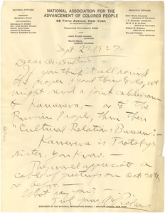 Thumbnail of Letter from William Pickens to Dr. Du Bois