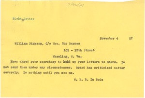 Thumbnail of Telegram from W. E. B. Du Bois to William Pickens