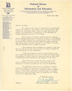 Thumbnail of Letter from the Committee of 48 (U.S.), National Bureau of Information and Education to W. E. B. Du Bois