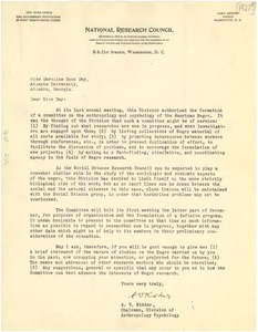 Thumbnail of Letter from the National Research Council to Caroline Bond Day