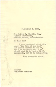 Thumbnail of Letter from W. E. B. Du Bois to Nelson H. Nichols Jr.