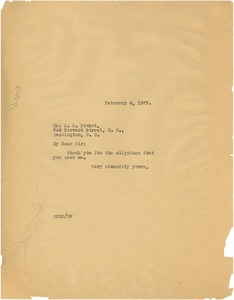Thumbnail of Letter from W. E. B. Du Bois to A. S. Pinket
