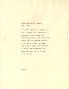 Thumbnail of Memorandum from W. E. B. Du Bois to James Weldon Johnson
