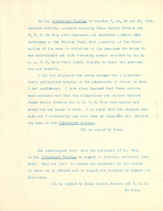 Thumbnail of Robert Vann, James W. Johnson, W. E. B. Du Bois, testimonial