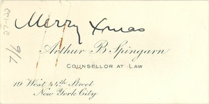 Thumbnail of Visiting card of Arthur Spingarn with note