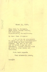 Thumbnail of Letter from W. E. B. Du Bois to Emma C. Thompson