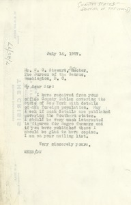 Thumbnail of Letter from W. E. B. Du Bois to the director of the United States Bureau of the Census