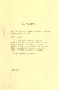 Thumbnail of Letter from W. E. B. Du Bois to United States Public Health Service