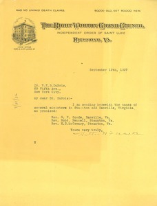 Thumbnail of Letter from Hattie N. F. Walker  to W. E. B. Du Bois