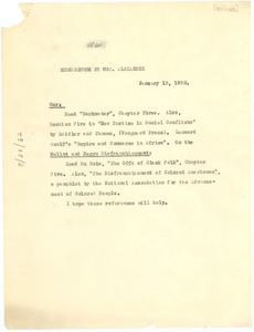 Thumbnail of Memorandum from W. E. B. Du Bois to Lillian Alexander