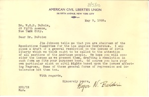 Thumbnail of Letter from the American Civil Liberties Union to W. E. B. Du Bois