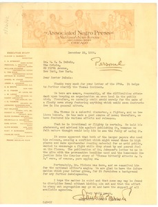 Thumbnail of Letter from Claude A. Barnett to W. E. B. Du Bois