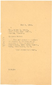 Thumbnail of Letter from W. E. B. Du Bois to Lewis W. Avery