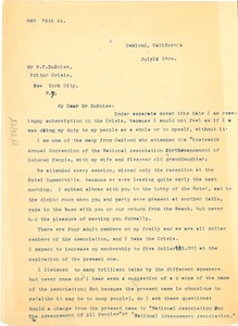 Thumbnail of Letter from M. G. Cooksey to W. E. B. Du Bois