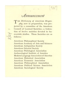 Thumbnail of Dictionary of American Biography announcement