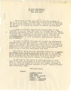 Thumbnail of Circular letter from Du Bois Testimonial Committee