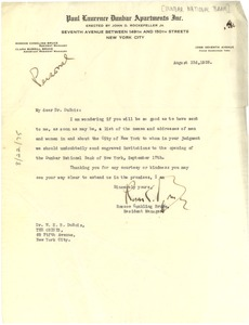 Thumbnail of Letter from Roscoe Conkling Bruce to W. E. B. Du Bois