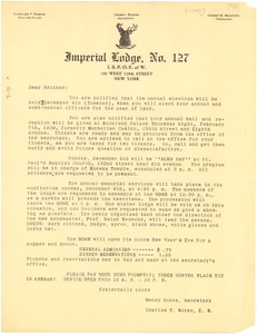 Thumbnail of Circular letter from Elks, Imperial Lodge