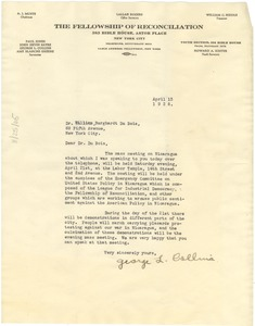 Thumbnail of Letter from Fellowship of Reconciliation to W. E. B. Du Bois