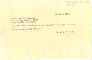Thumbnail of Letter from W. E. B. Du Bois to Alice R. Yonkman