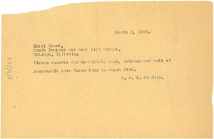 Thumbnail of Letter from W. E. B. Du Bois to Hotel Grand