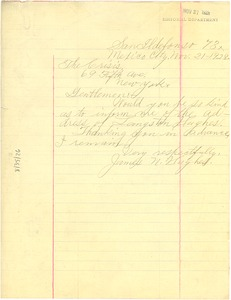 Thumbnail of Letter from James N. Hughes to Crisis