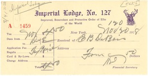 Thumbnail of Receipt from Elks, Imperial Lodge