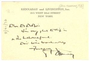 Thumbnail of Note from Paul Kennaday to W. E. B. Du Bois