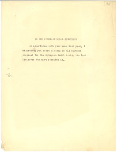 Thumbnail of Memorandum from W. E. B. Du Bois to The Spingarn Medal Committee