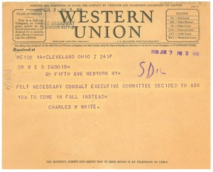 Thumbnail of Telegram from NAACP, Cleveland branch to W. E. B. Du Bois