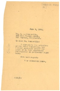 Thumbnail of Letter from W. E. B. Du Bois to NAACP, Los Angeles Branch