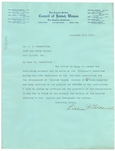 Thumbnail of Letter from Lillian B. Goldsmith to the NAACP Los Angeles branch