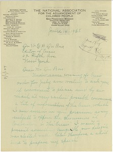 Thumbnail of Letter from NAACP San Francisco Branch to W. E. B. Du Bois