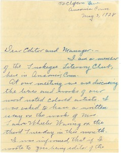 Thumbnail of Letter from Tuskegee Literary Club to the editor of The Crisis