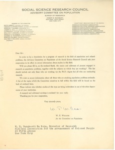 Thumbnail of Circular letter from the Social Science Research Council to W. E. B. Du Bois