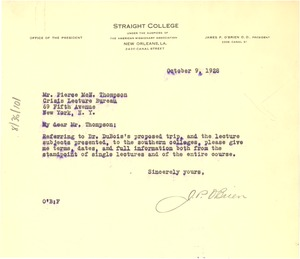 Thumbnail of Letter from Straight College to Pierce Thompson