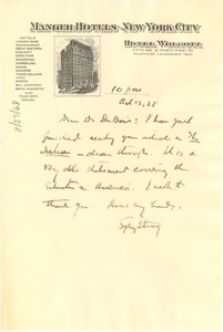 Thumbnail of Letter from Sydney Strong to W. E. B. Du Bois