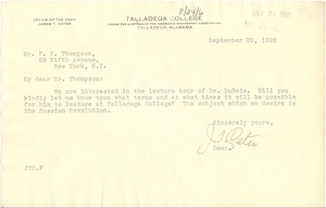 Thumbnail of Letter from Talladega College to P. M. Thompson