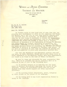 Thumbnail of Letter from Writers and Artists Committee for Thomas             and Maurer to W. E. B. Du Bois