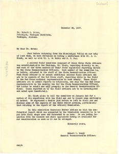 Thumbnail of Letter from Robert E. Bondy to Tuskegee Institute