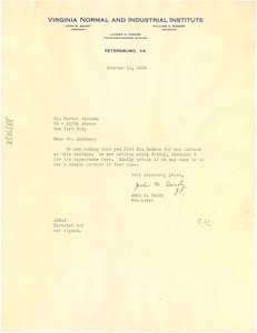 Thumbnail of Letter from Virginia Normal and Industrial Institute to Marvel K. Jackson