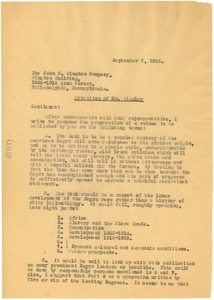Thumbnail of Letter from W. E. B. Du Bois to John C. Winston Company