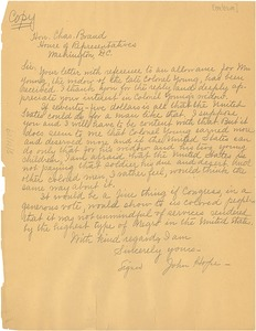 Thumbnail of Letter from John Hope to Charles Brand