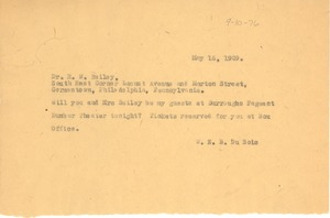 Thumbnail of Telegram from W. E. B. Du Bois to R. W. Bailey