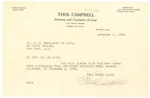 Thumbnail of Letter from Thomas Campbell to W. E. B. Du Bois
