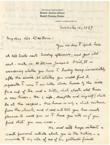 Thumbnail of Letter from Frederick W. Coburn to W. E. B. Du Bois