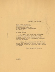 Thumbnail of Letter from W. E. B. Du Bois to Junior Society of Congregation Emanu-El