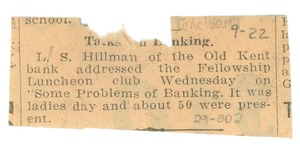 Thumbnail of Newspaper clipping on the Fellowship Luncheon Club