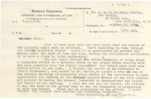 Thumbnail of Letter from Harold Goodwin to W. E. B. Du Bois